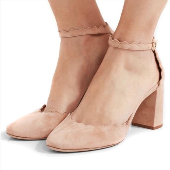 Lyst - Chloé Lauren Scalloped-edge Block-heel Leather